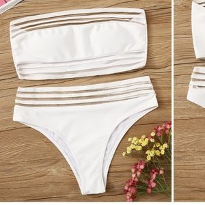 Mesh bandeau bikini set